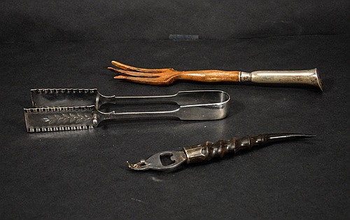 Mixed Lot to Include Electroplated Asparagus Tongs, Horn Bottle Opener and Sterling Handled Salad Fork
