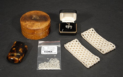 Mixed Jewelry Lot to Include; Sterling Silver Beads, Buffalo Charm, Bracelets, Leather Box and Tortoise Shell Lighter Cover.