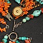 Two Turquoise and Coral Necklace & One Bracelet