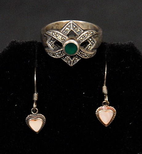Sterling Ring with Green Stone and Sterling Heart Earings