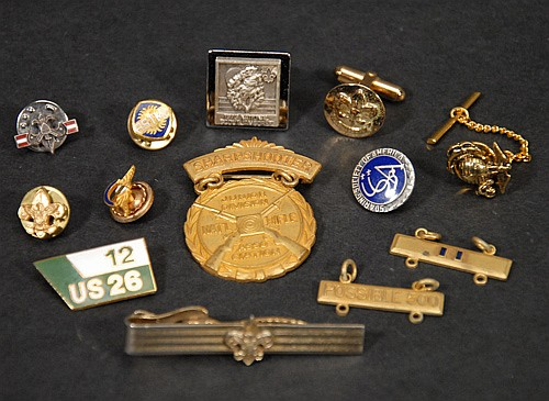 Mixed Jewelry Lot to Include; Sharpshooter Medal, Boy Scout Tie Bar Cufflinks and Pins