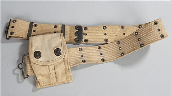 WWII US Army web belt with .45 cal. automatic canvas clip pouch.