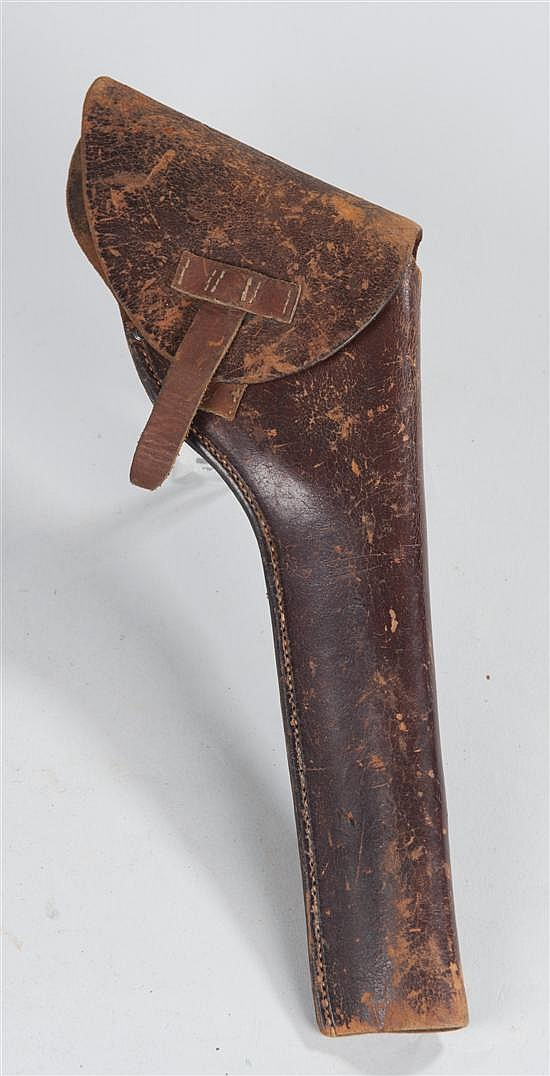 "Circa 1900s leather holster with belt loop marked ""H.H. HEISER MAKER DENVER COLO"" over numeral ""447."" For civilian market."