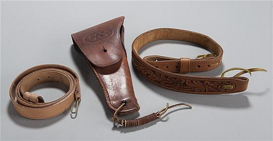 "Lot of reproduction leather including Civil War musket sling, tooled leather belt and ""US"" embossed .45 cal. automatic pistol holster."