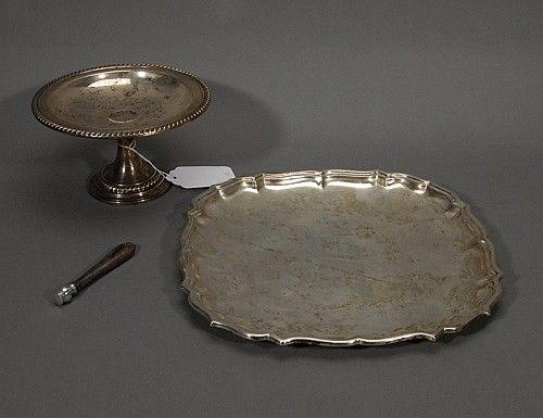 Sterling Footed Bowl, Sterling Tray, and Sterling Handled Phone Dialer