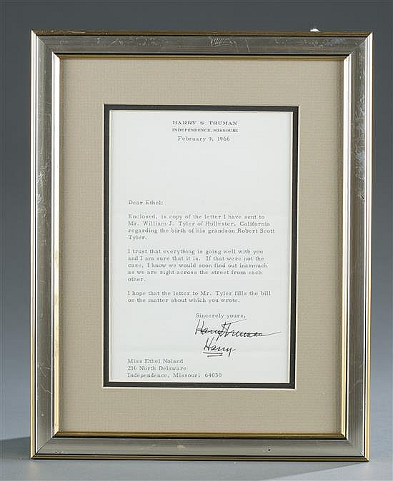 Harry S. Truman Signed Letter