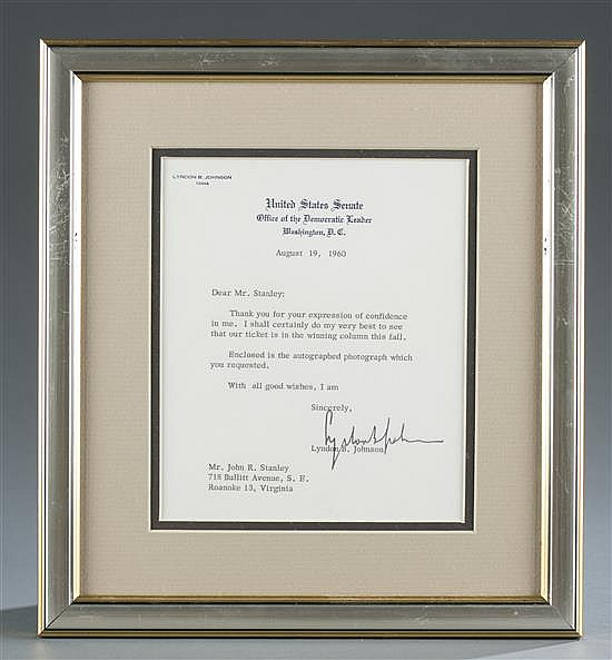 Letter Signed by Lyndon B. Johnson, Senator