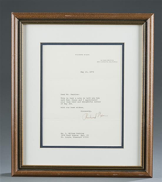 Richard Nixon Signed Letter