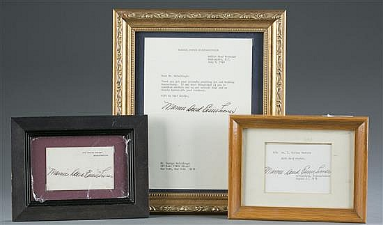 Mamie Eisenhower Letter and Signature Cards