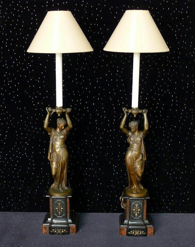 20: Pair of 19th Century Bronze Figural Lamps