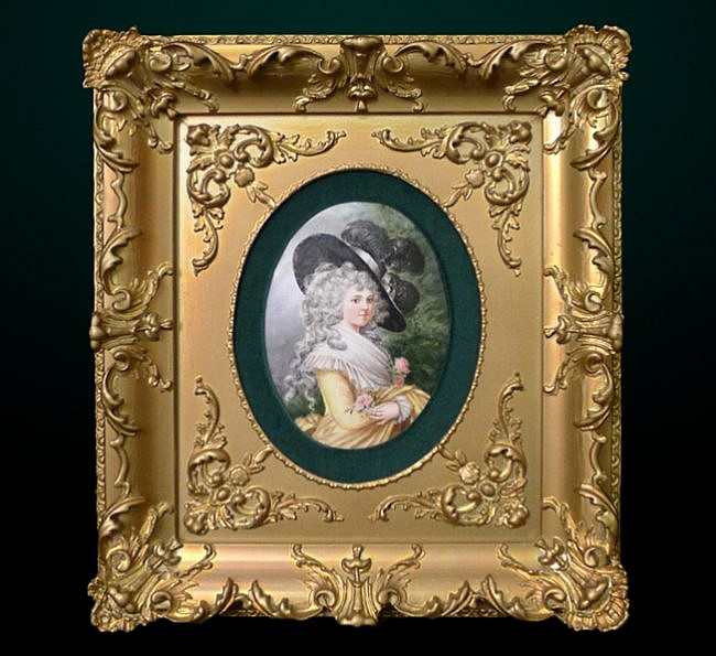 5: Porcelain Plaque in Gilt Frame