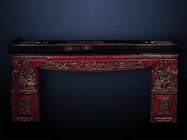 Carved Asian and Decorated Long Table