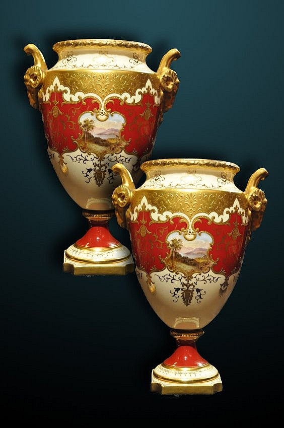 Pair of 19th Century Coalport Urns