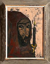 Gerard Sebastian, Cloaked Man and Candle, Oil Painting