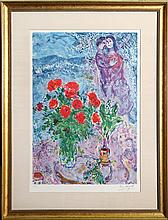 Marc Chagall, Red Bouquet with Lovers, Offset Lithograph