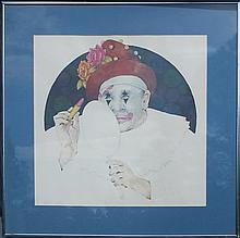 Ben Black, Four Clown Portrait Watercolor Paintings
