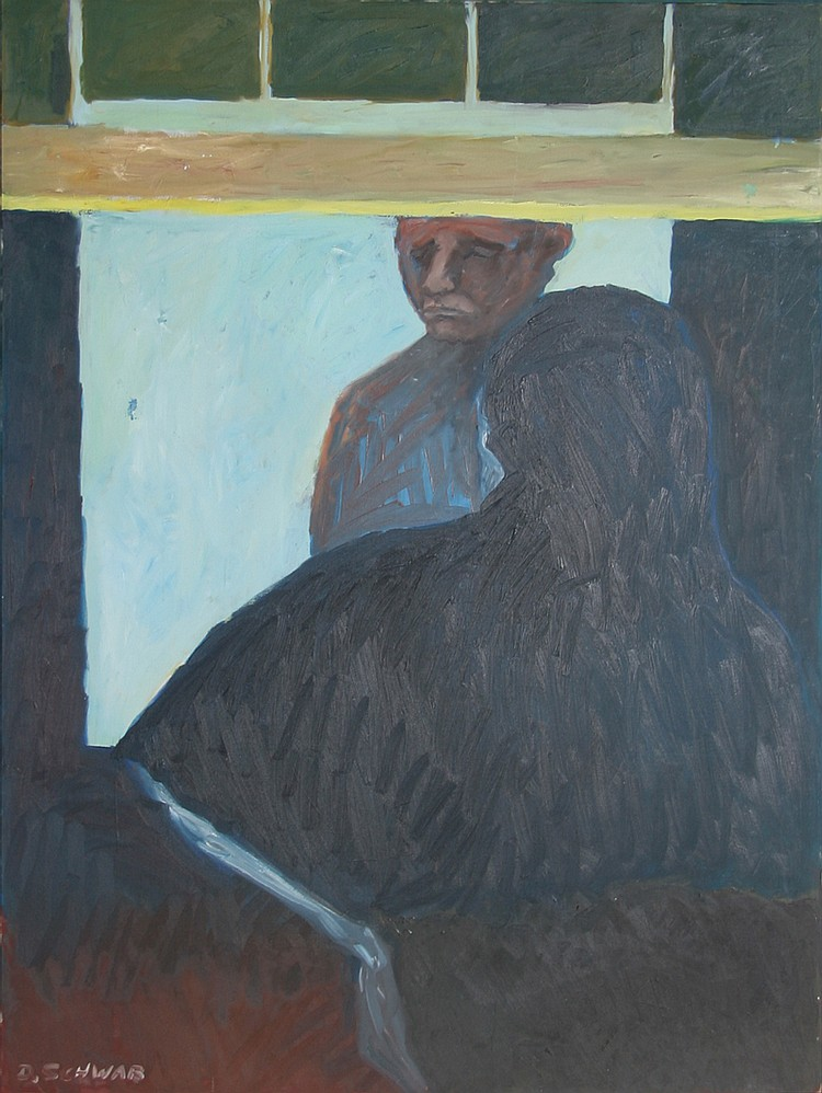 David Schwab, Man in the Window, Oil Painting