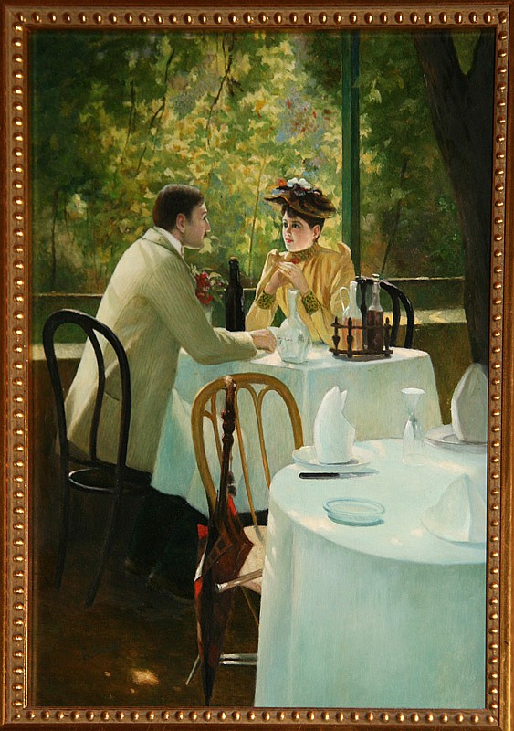 Robert Brackman, Seated in a Cafe, Oil Painting
