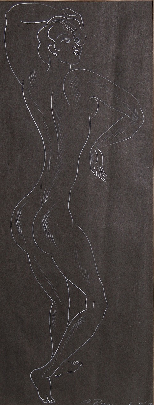 Alexander Raymond Katz, Dancing Gesture, Brush Drawing