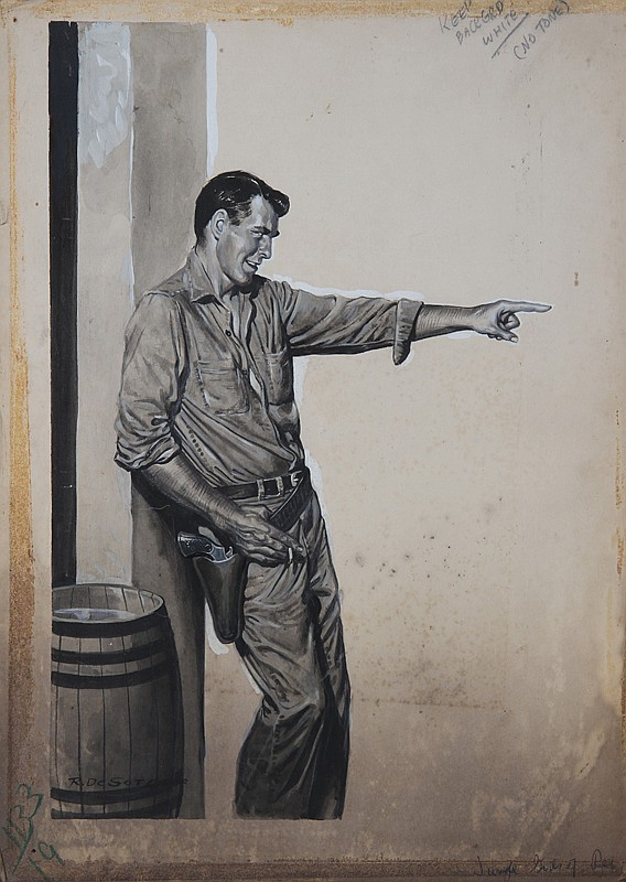 Rafael Desoto, Pointing Man with Gun, Pastel Drawing