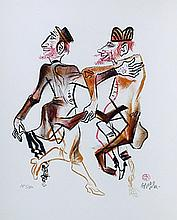 William Gropper, Two Men Dancing (12) from the Shtetl Portfolio, Lithograph