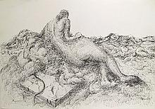 Benjamin Silva, Woman on the Beach, Ink Drawing
