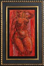 Charles Burdick, Nude (Red), Ink and Watercolor Painting