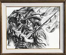 Virginia Dan, Bagpipers, Charcoal Drawing