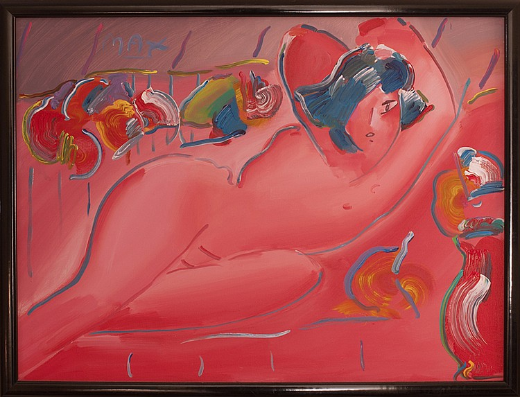 Peter Max, Reclining Nude on Red, Painting