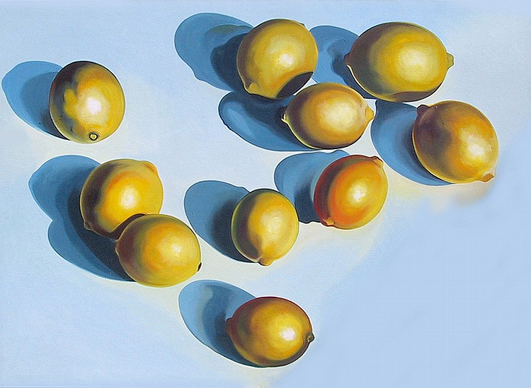 Lowell Blair Nesbitt, Ten Lemons on Blue, Oil Painting