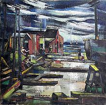 Francis Revesz Ferryman, Dock Workers, Oil Painting