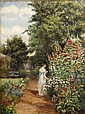 Woman Strolling Through Garden, Oil Painting