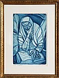 Irving Amen, The Prophet (blue), Etching