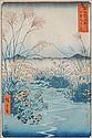 Hiroshige Ando woodblock in colors