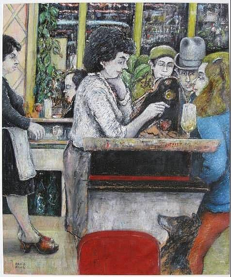 David Azuz- In a Cafe- oil pastel on paper, signed