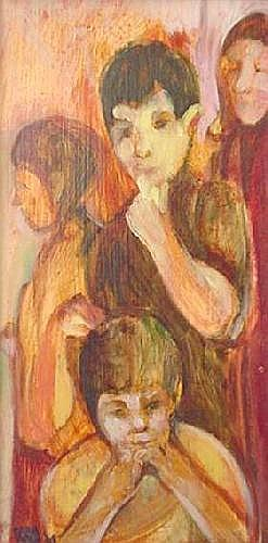Carol Wald (American 1935-2001) Four Figures oil