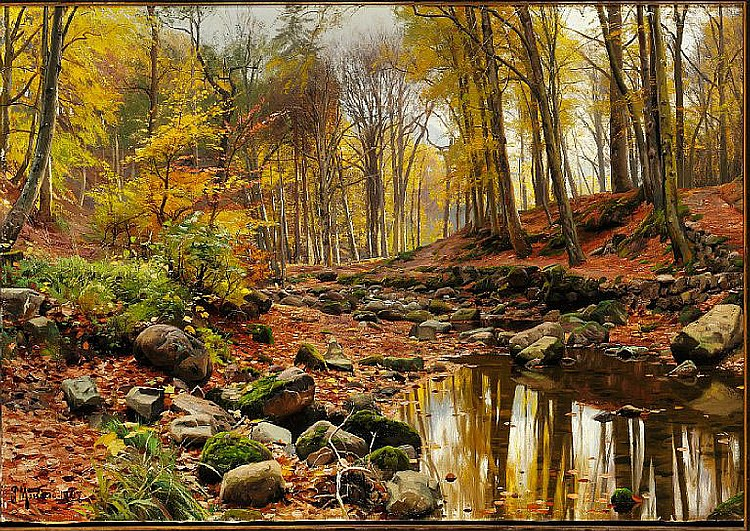 Peder Mønsted: Stream in the forest, autumn.