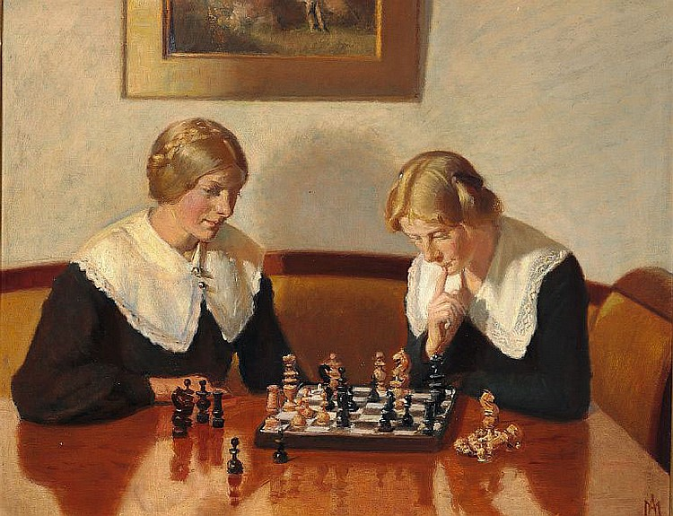 Michael Ancher: Helga Ancher and Engel Saxild playing chess.