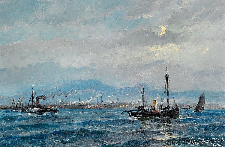 Holger Drachmann: A paddle steamer and sailing ships off the coast of Leith near Edinburgh.