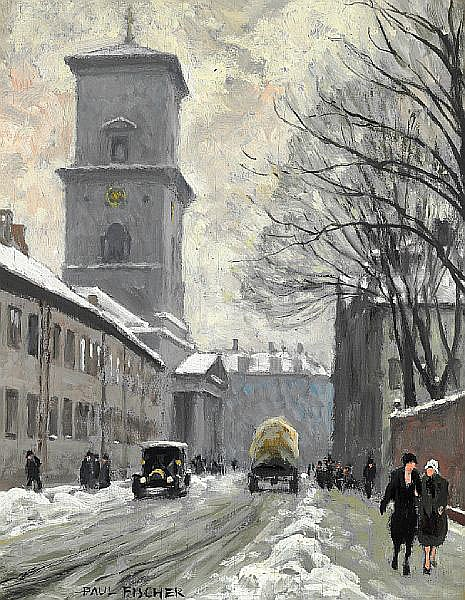 Paul Fischer: Strollers in Nørregade near Vor Frue Kirke on a winter day.