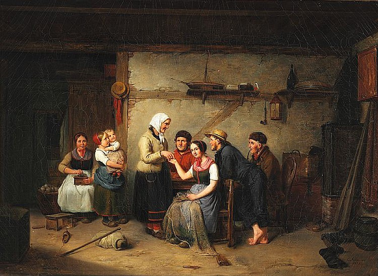 C. A. Schleisner: Interior from Zealand with a fisherman's family.