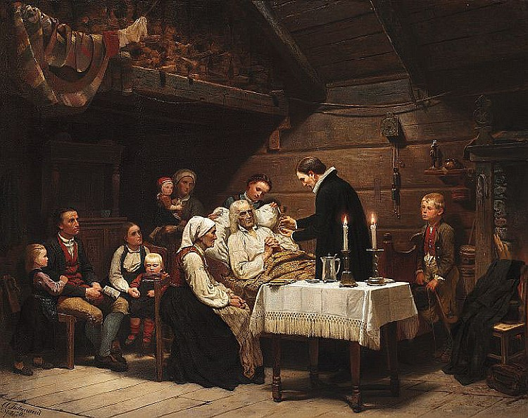 Adolph Tidemand: The priest visiting an old man to give him the Holy Communion.