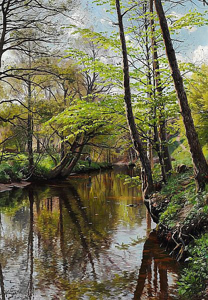 Peder Mønsted: Spring day in the woods.