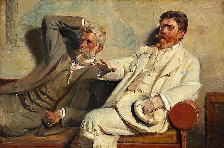 Michael Ancher: Art critics. Study of painters Laurits Tuxen and P. S. Krøyer discussing an artwork in Krøyer's studio.