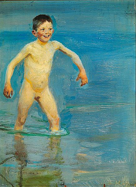 P. S. Krøyer: Bathing boy trundling onshore.