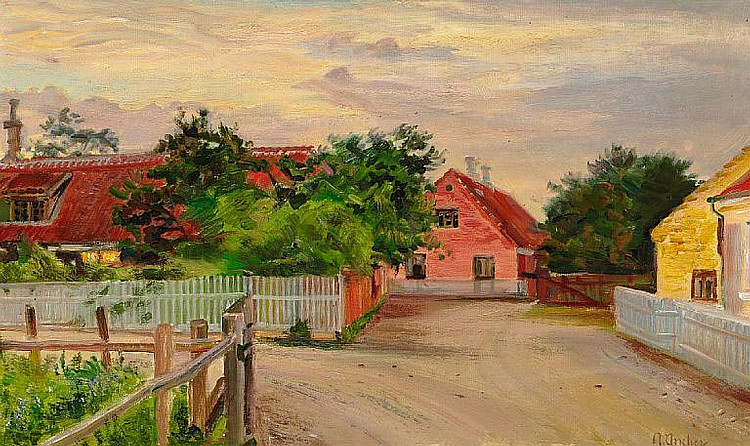 Anna Ancher: Houses along a road in Skagen.