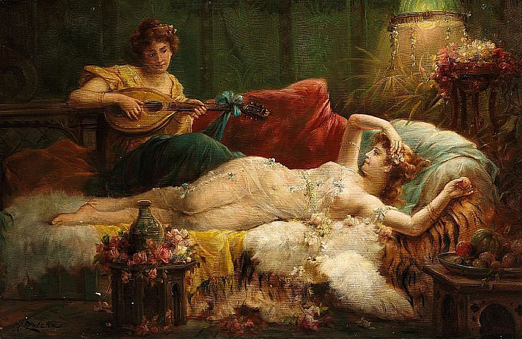 Hans Zatzka: Interior with a lightly dressed woman and a lute player.