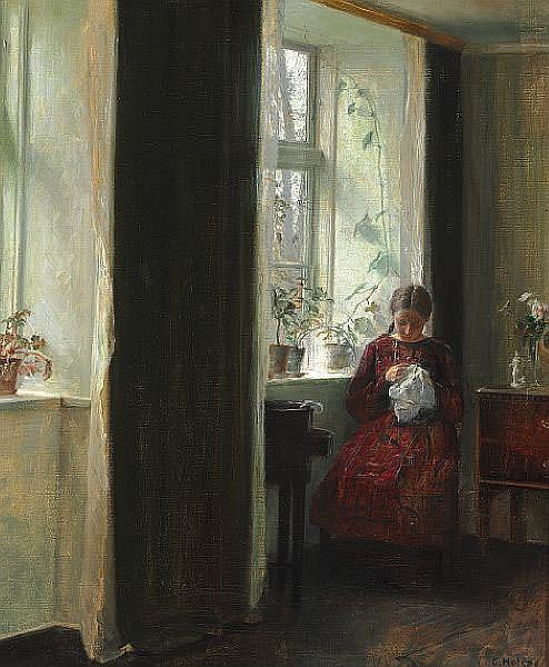 Carl Holsøe: Interior with a girl in a red dress sewing near the window.