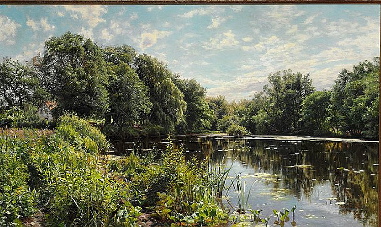 Peder Mønsted: Zealand landscape with a lake surrounded by trees and grazing cows.
