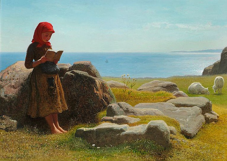 Anton Dorph: Coastal scene with a little girl reading, presumably from Bornholm.